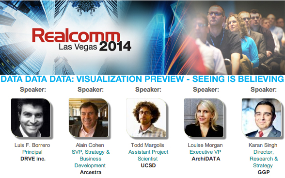 Flyer for the data visualization panel at Realcomm 2014