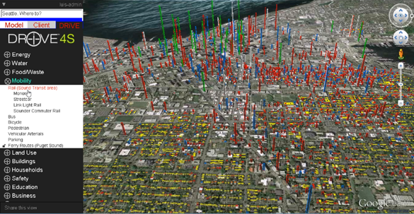 screenshot of DriveDecisions showing zoning for Seattle and parts of the surrounding area